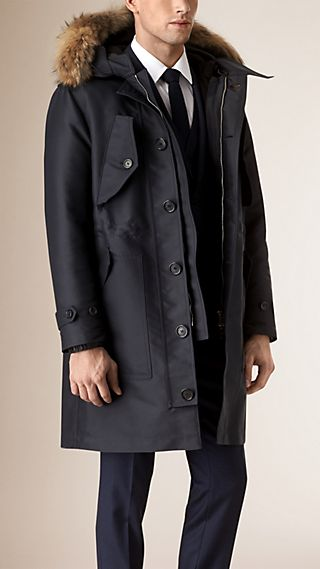 Fur Trim Technical Parka with Down-filled Warmer
