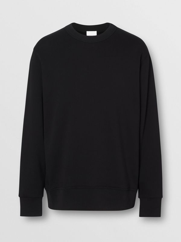 Zip Detail Horseferry Print Cotton Sweatshirt in Black - Men | Burberry - cell image 3