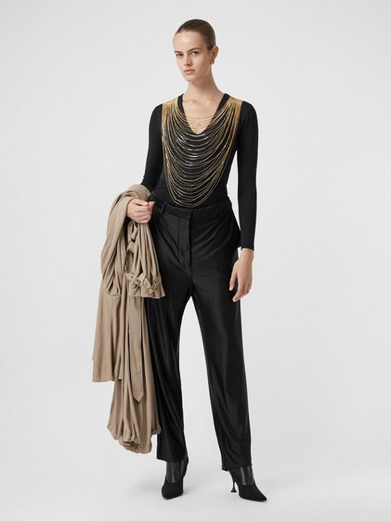 Chain Detail Stretch Jersey Bodysuit in Black