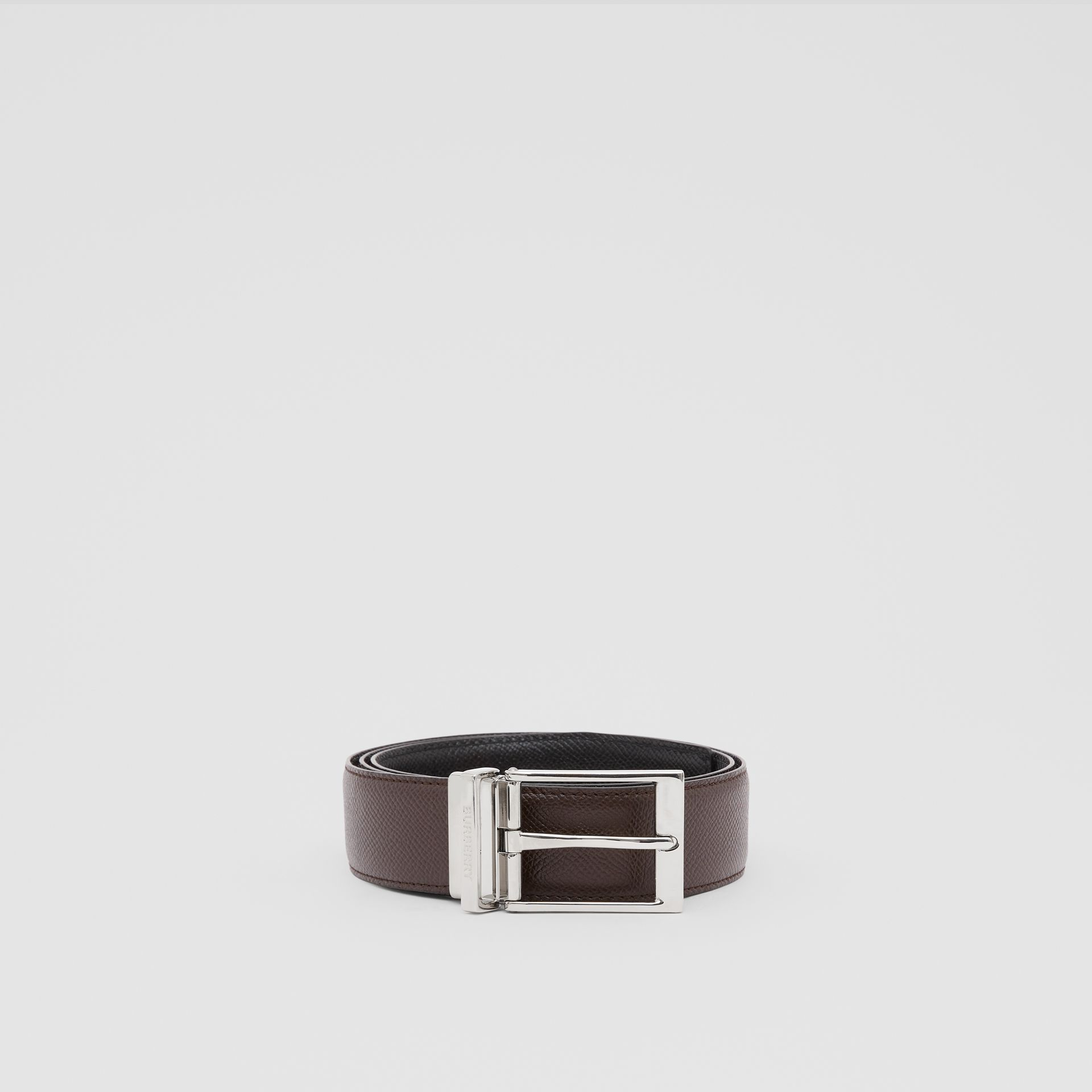 Reversible Grainy Leather Belt in Black/chocolate - Men | Burberry United Kingdom - gallery image 2