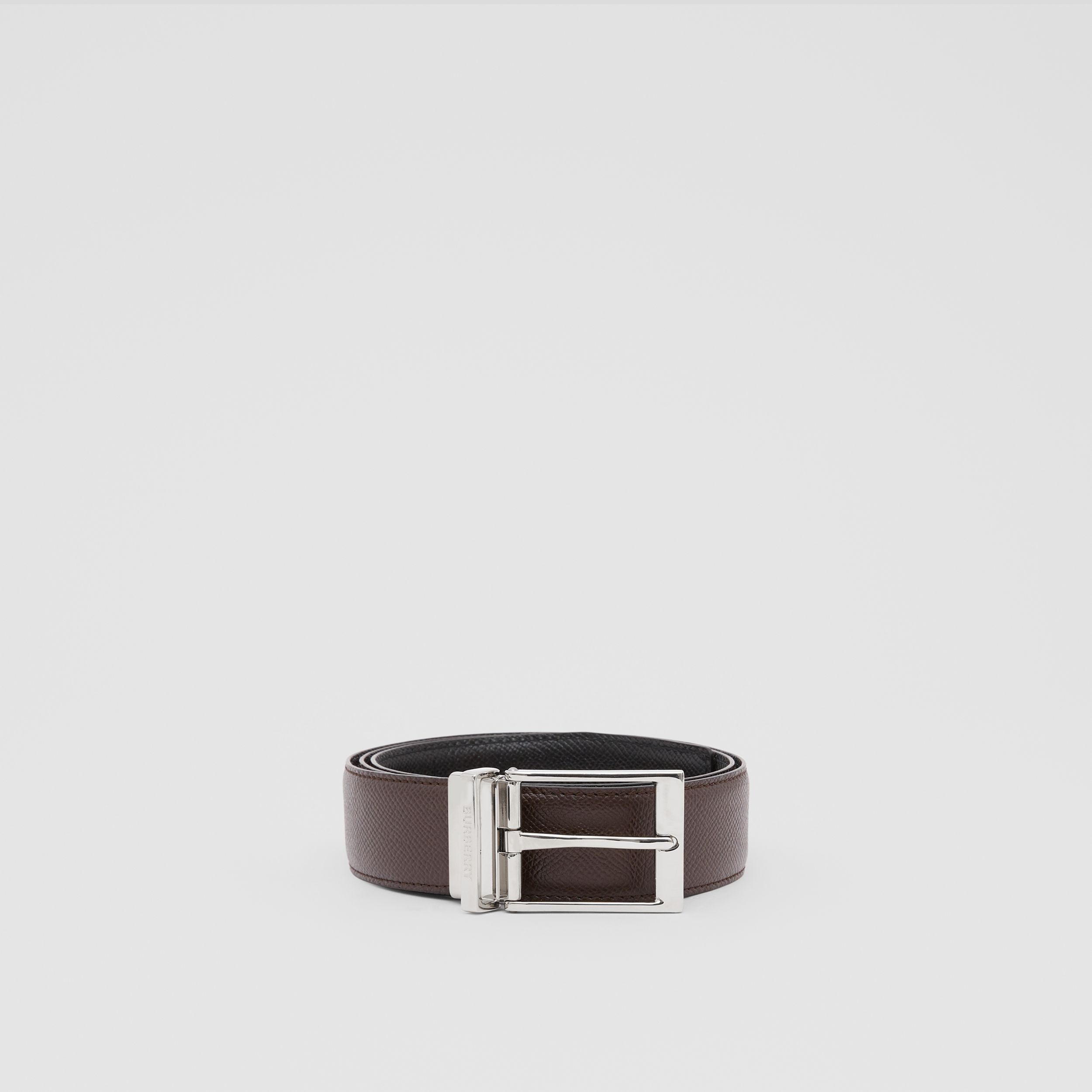 Reversible Grainy Leather Belt in Black/chocolate - Men | Burberry - 3