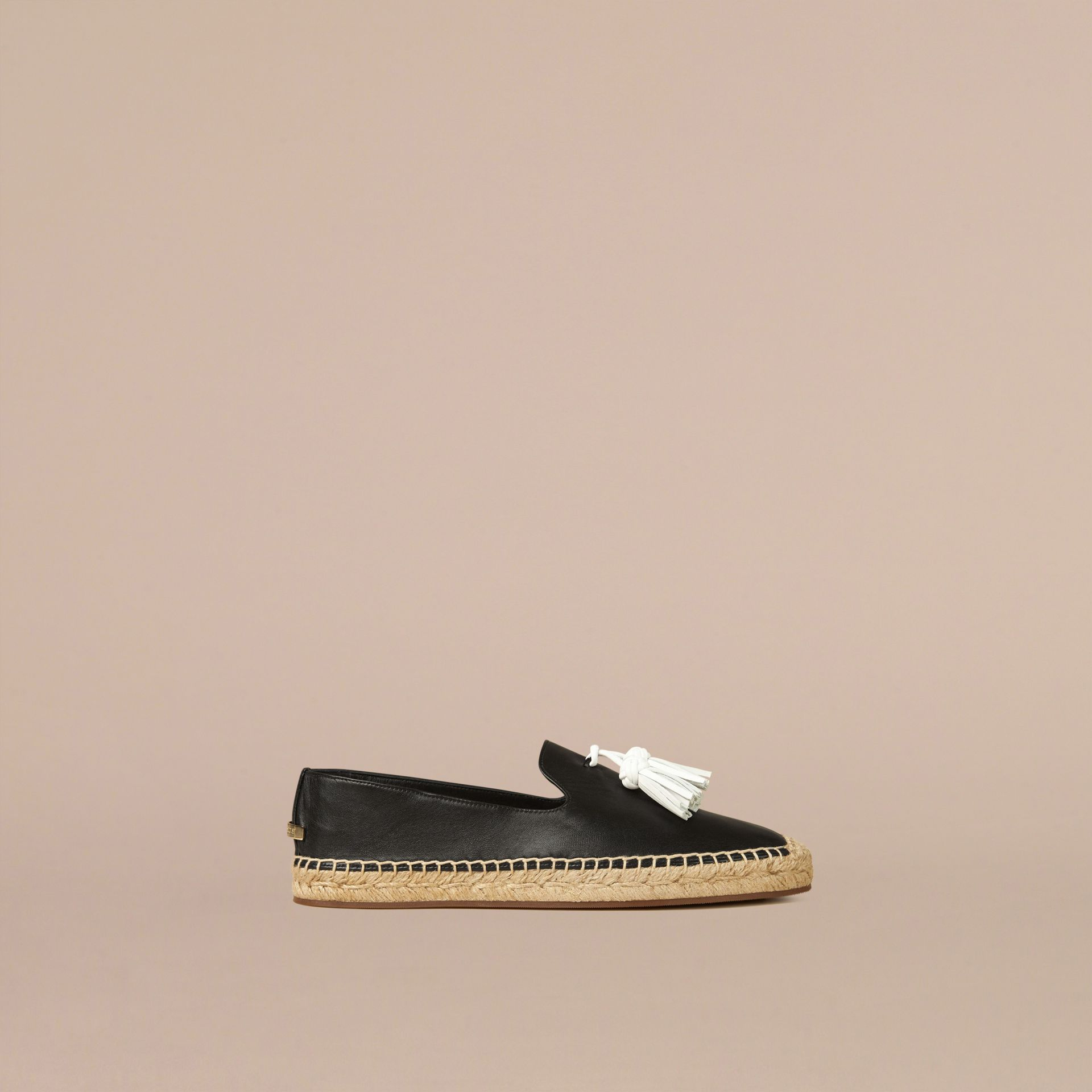 Black Tasselled Leather Espadrilles - gallery image 1