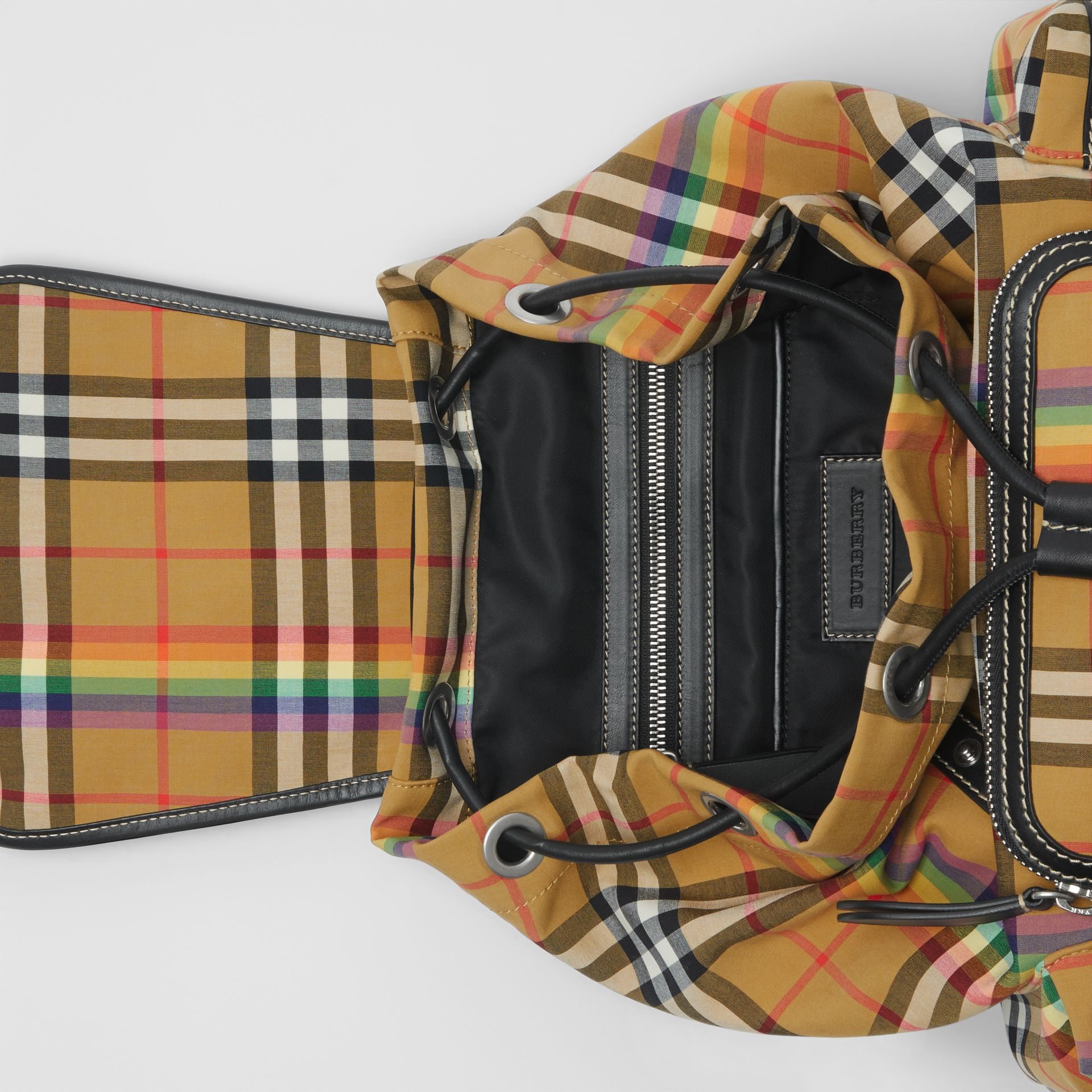 The Medium Rucksack in Rainbow Vintage Check in Antique Yellow - Women | Burberry United Kingdom - gallery image 5