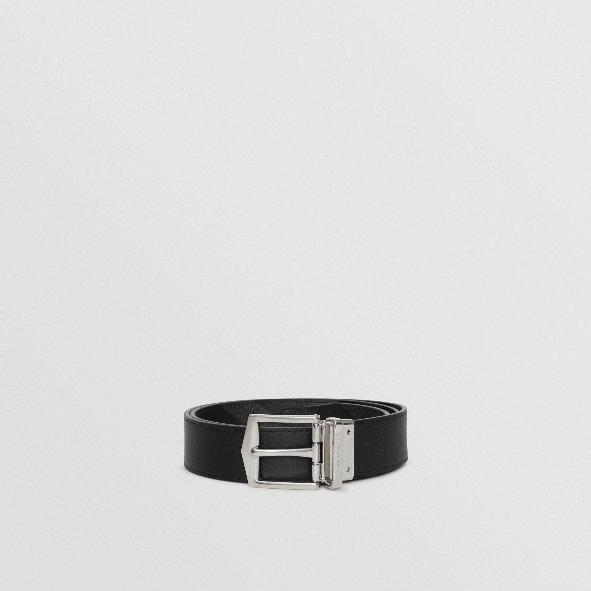 Reversible London Check and Leather Belt in Charcoal/black - Men | Burberry Australia - gallery image 7