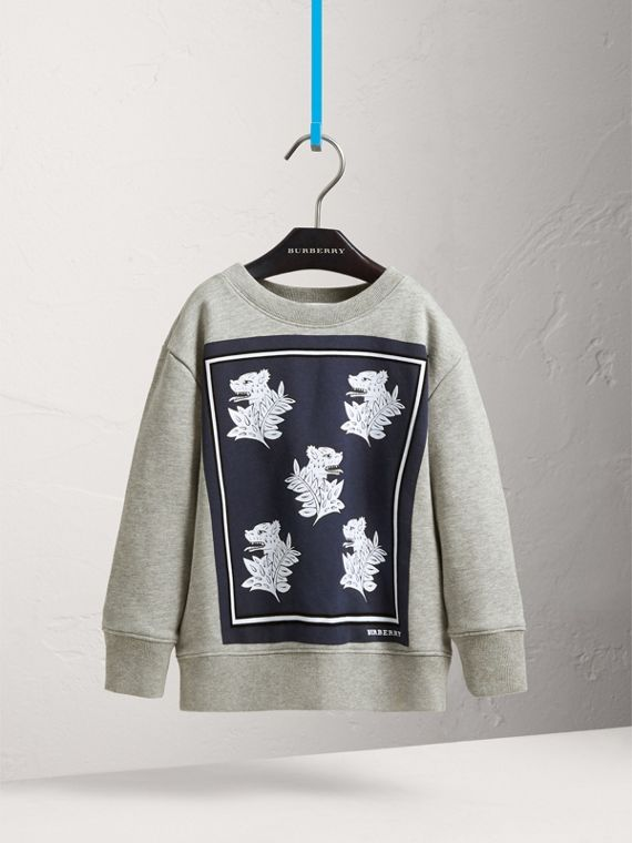 Beasts Print Cotton Sweatshirt in Deep Blue - Boy | Burberry - cell image 2
