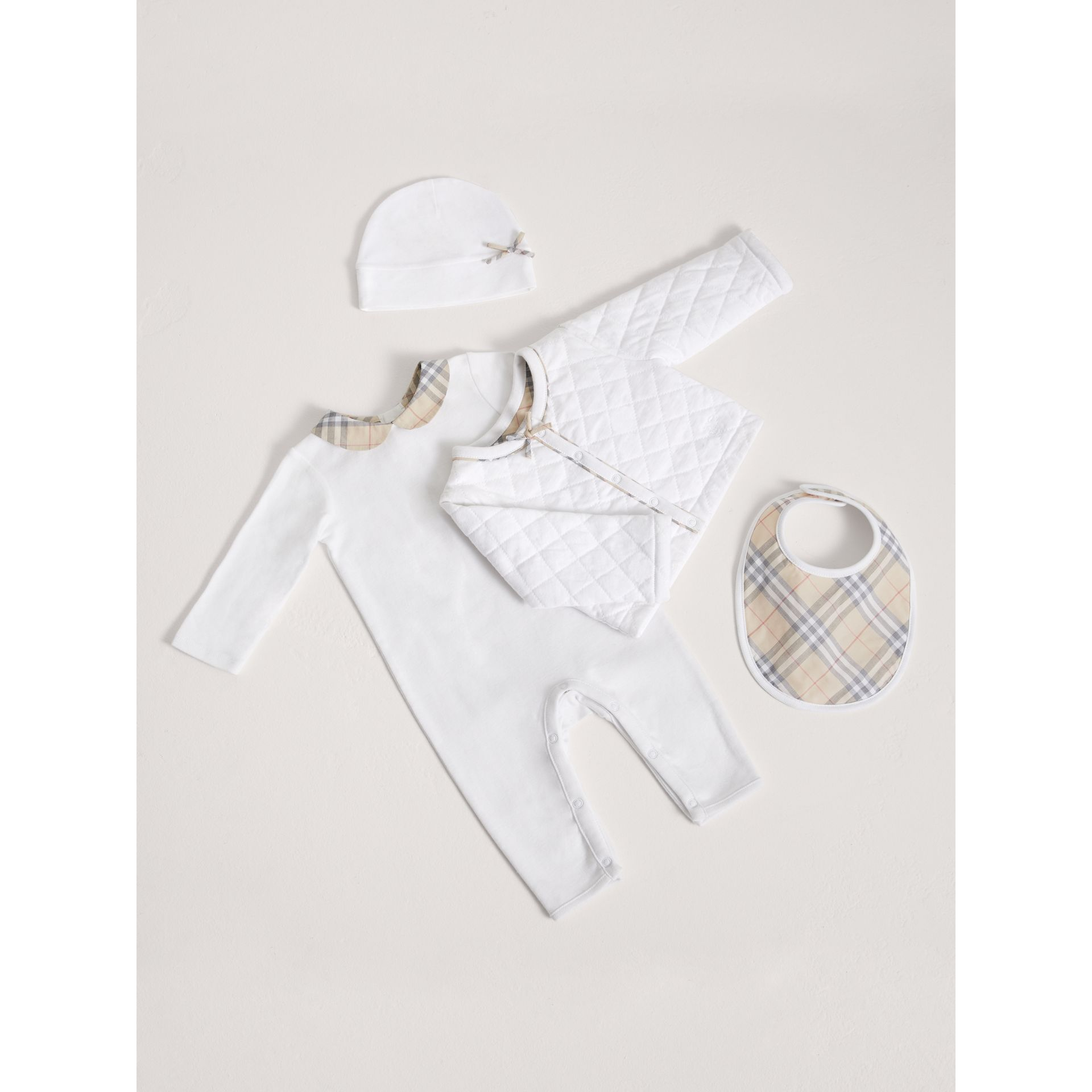 Cotton Four-piece Baby Gift Set in White - Girl | Burberry - gallery image 0