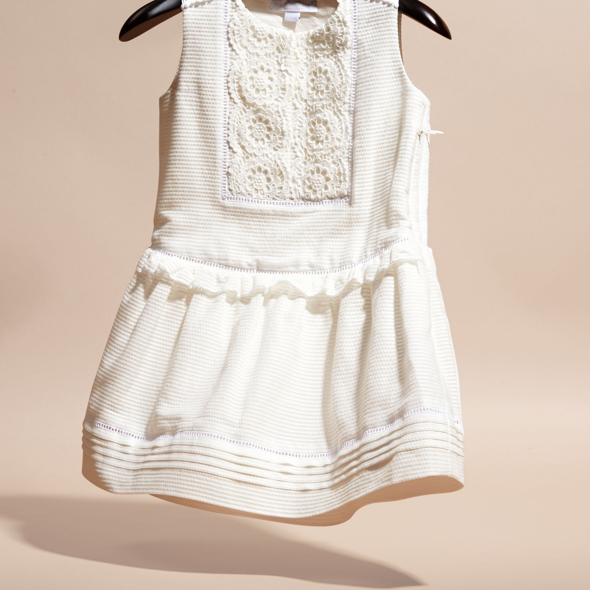 White Lace Bib Cotton Silk Sleeveless Dress - gallery image 2