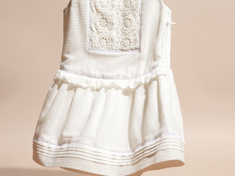 White Lace Bib Cotton Silk Sleeveless Dress - cell image 1