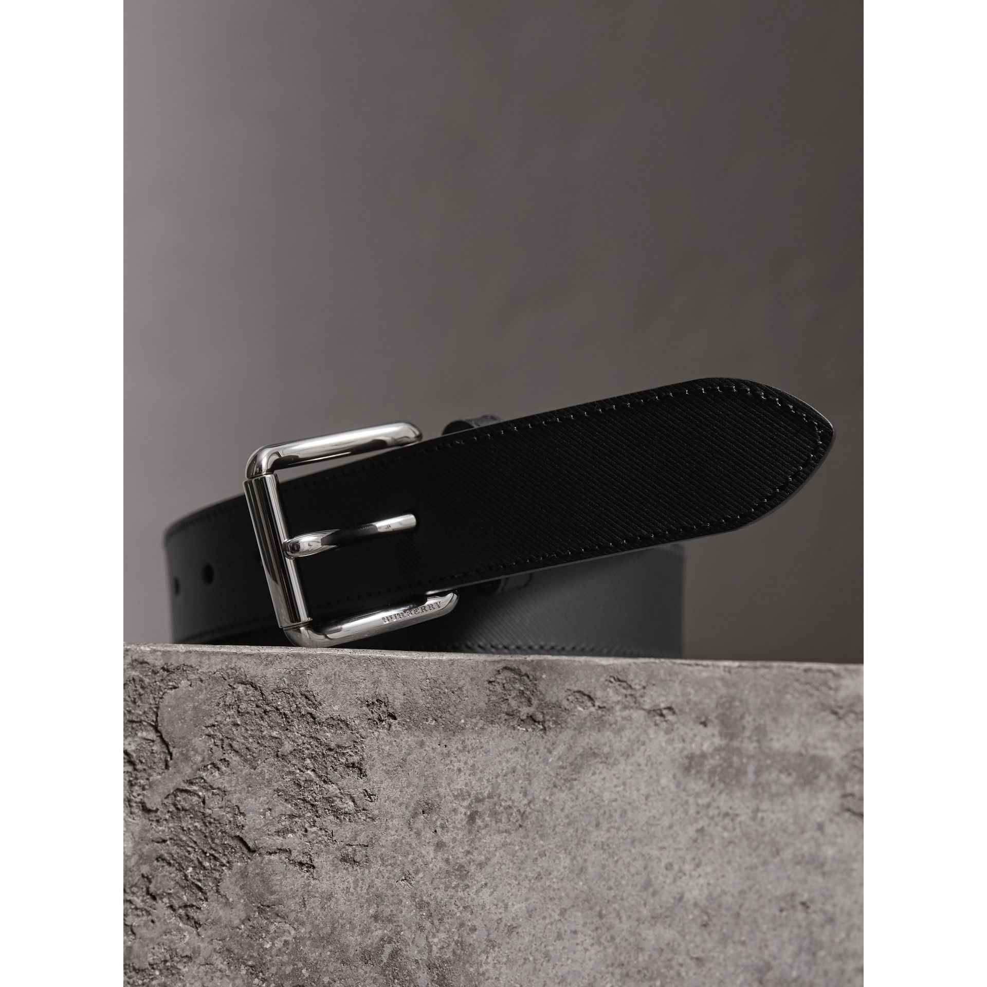 Trench Leather Belt in Black - Men | Burberry - gallery image 2