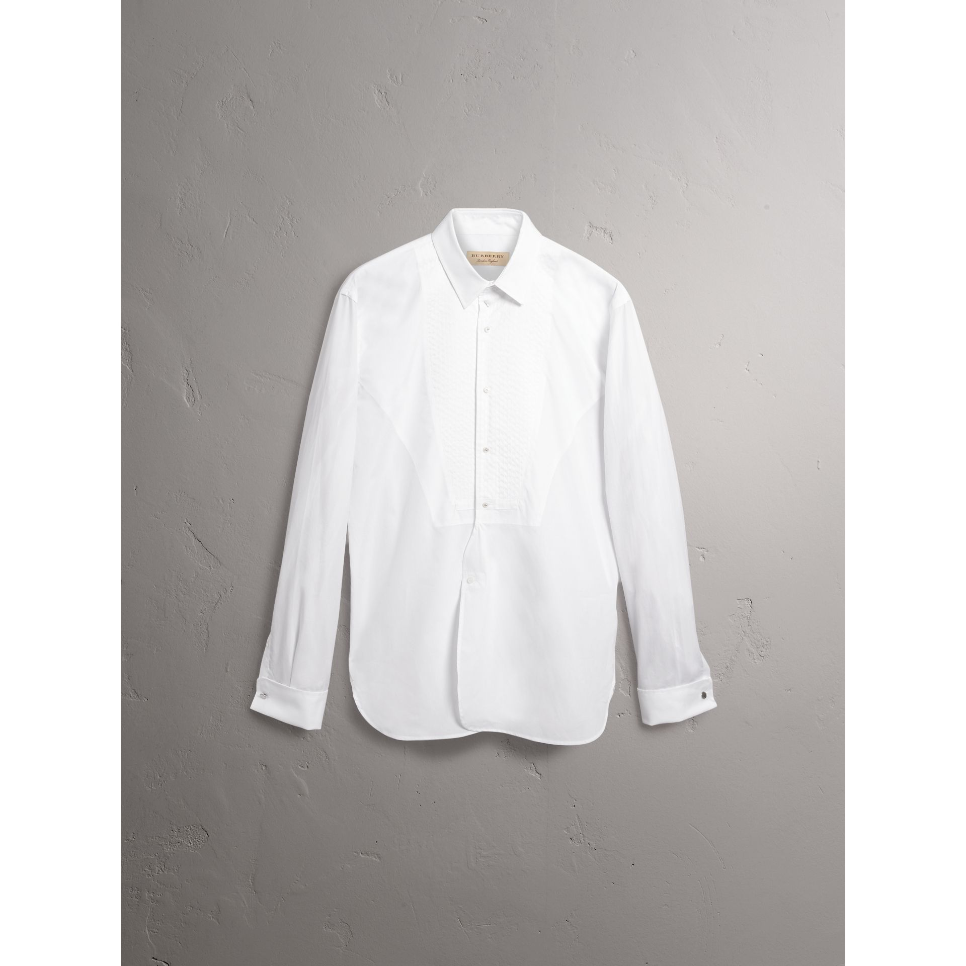 Modern Fit Pick-stitch Detail Bib Cotton Poplin Dress Shirt in White - Men | Burberry - gallery image 3