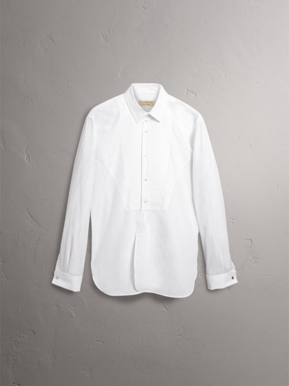 Modern Fit Pick-stitch Detail Bib Cotton Poplin Dress Shirt in White - Men | Burberry Australia - cell image 3