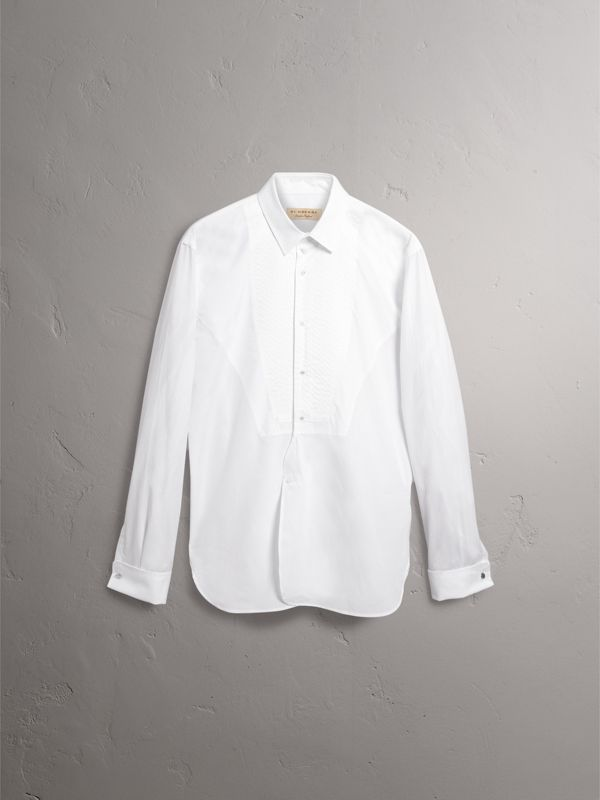 Modern Fit Pick-stitch Detail Bib Cotton Poplin Dress Shirt in White - Men | Burberry - cell image 3