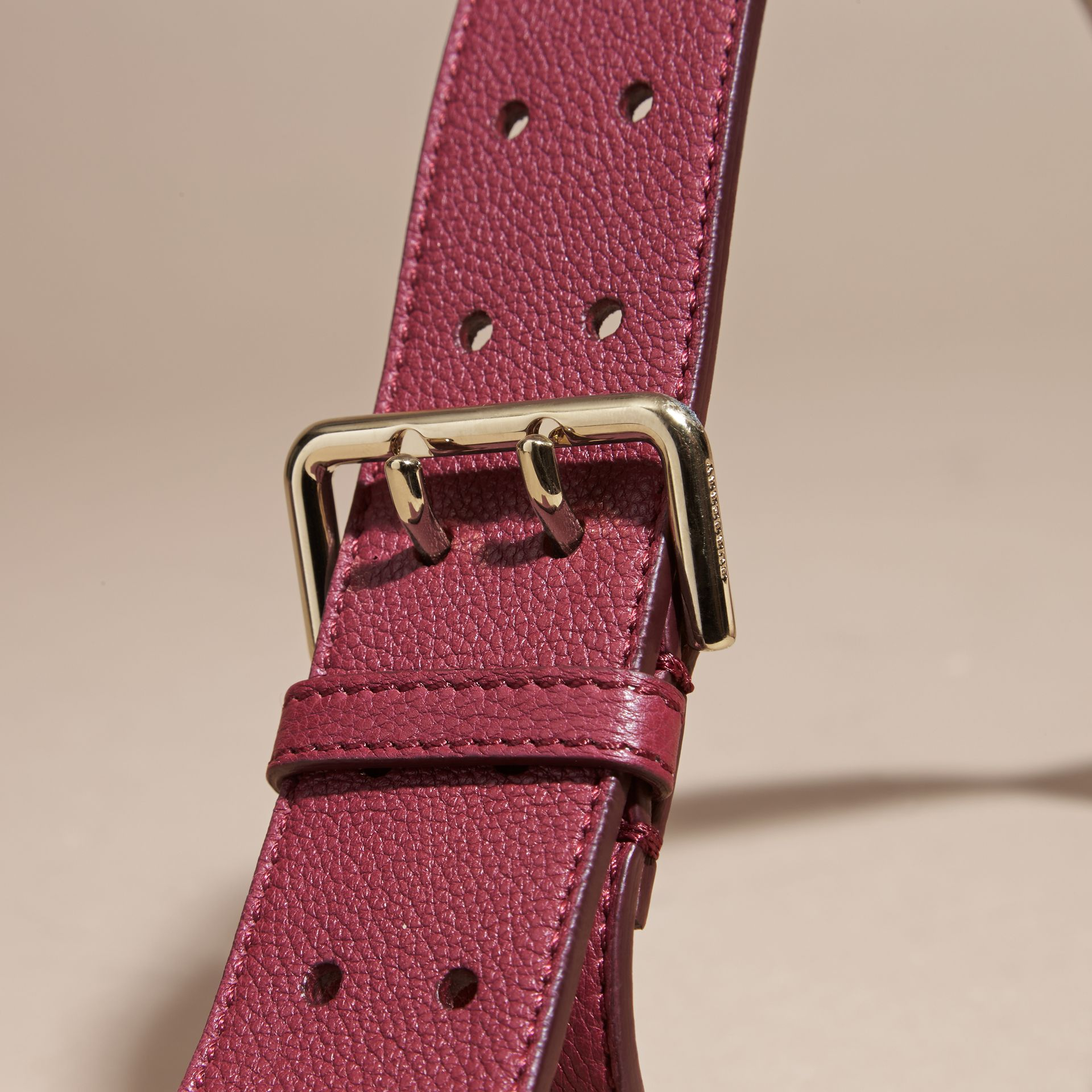 Dark plum Eyelet Detail Grainy Leather Belt Dark Plum - gallery image 2