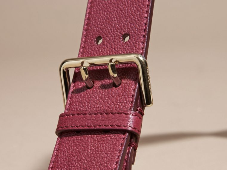 Eyelet Detail Grainy Leather Belt Dark Plum - cell image 1