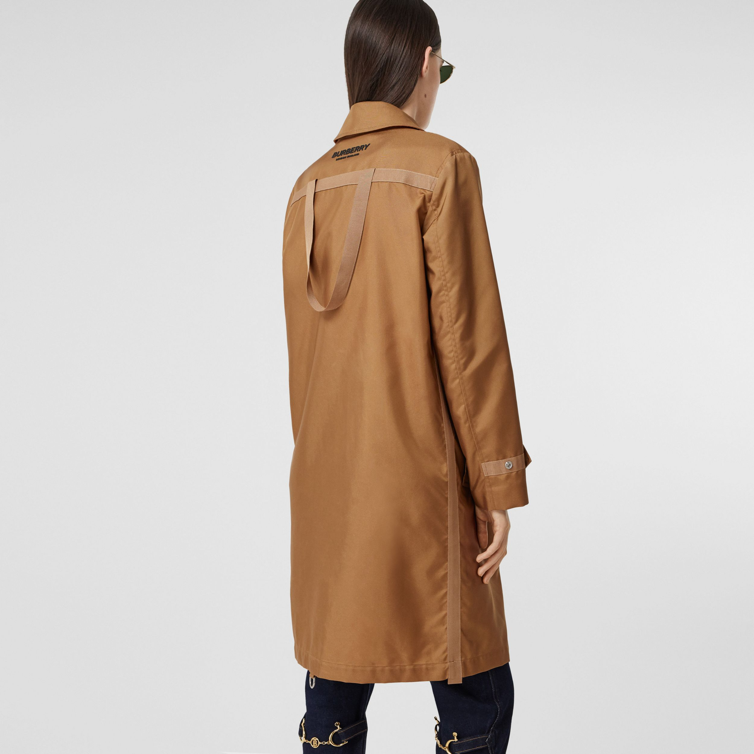 Logo Appliqué Technical Canvas Coat in Camel - Women | Burberry Hong Kong S.A.R. - 3