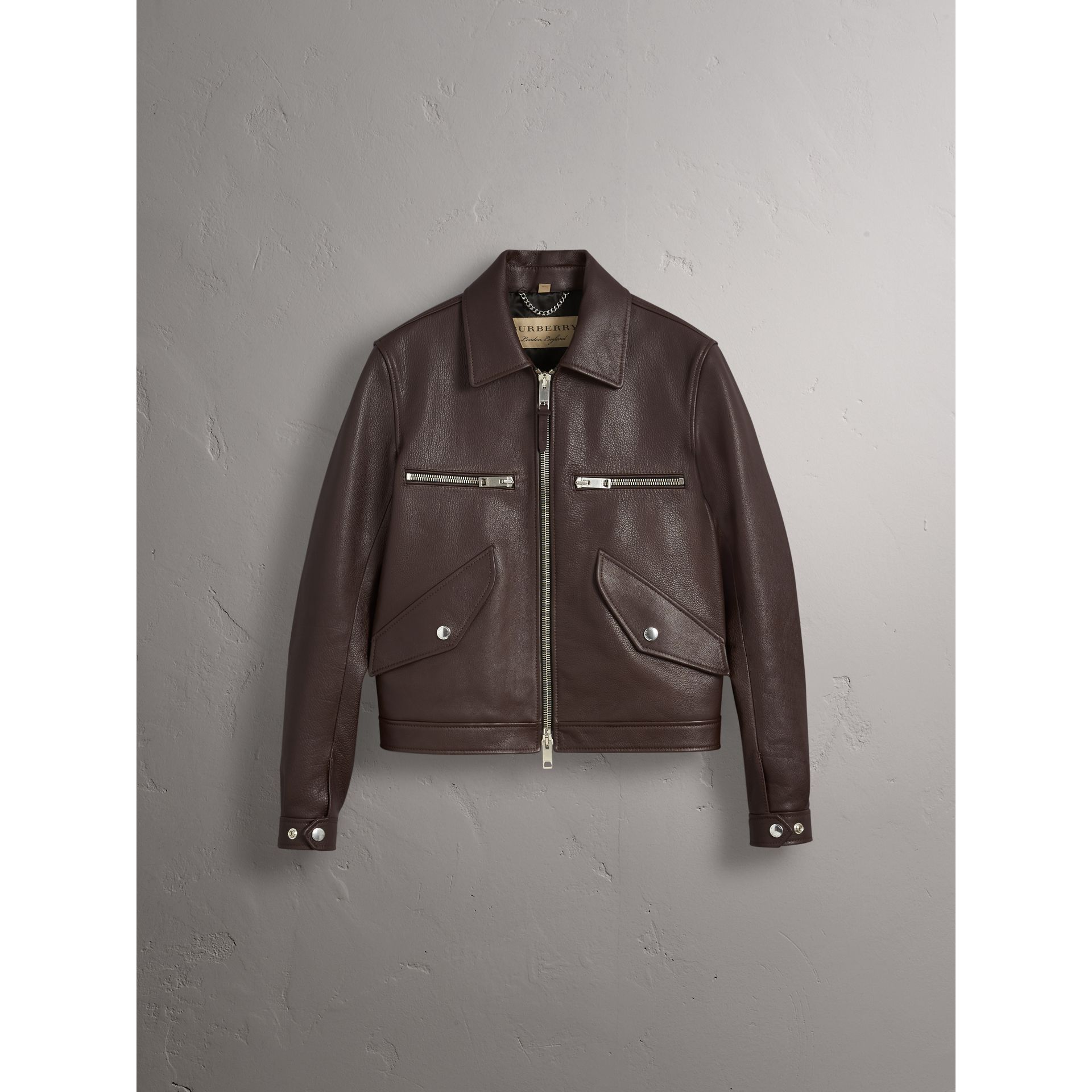 Tumbled Leather Jacket in Bitter Chocolate - Men | Burberry United Kingdom - gallery image 4