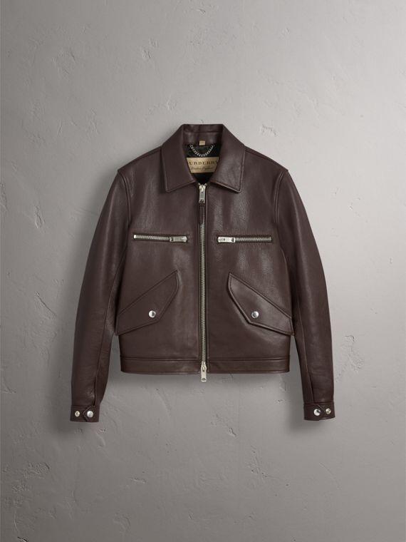 Tumbled Leather Jacket in Bitter Chocolate - Men | Burberry - cell image 3