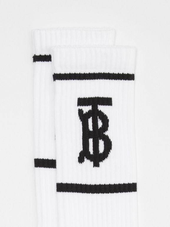 Monogram Motif Intarsia Socks in White | Burberry - cell image 1