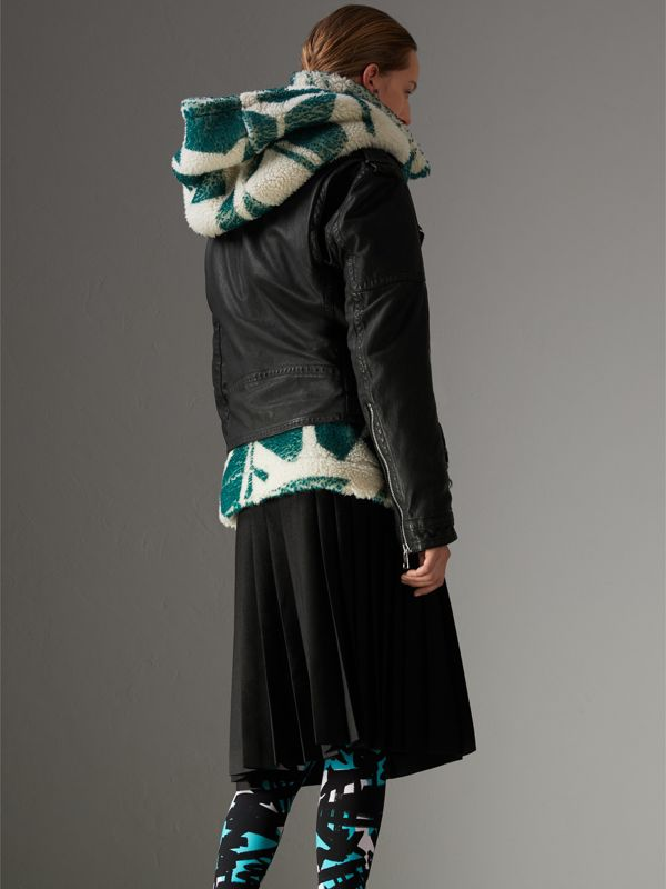 Graffiti Print Leggings in Turquoise - Women | Burberry - cell image 2