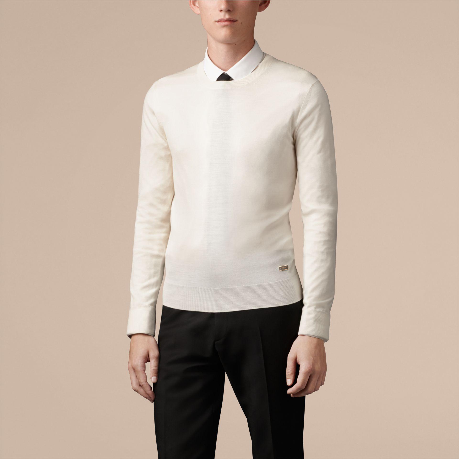 Natural white Crew Neck Merino Wool Sweater Natural White - gallery image 1