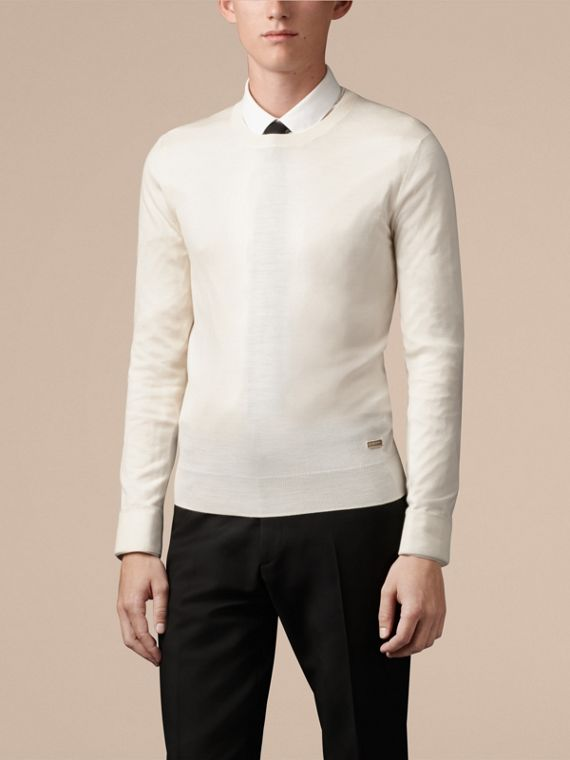 Crew Neck Merino Wool Sweater Natural White