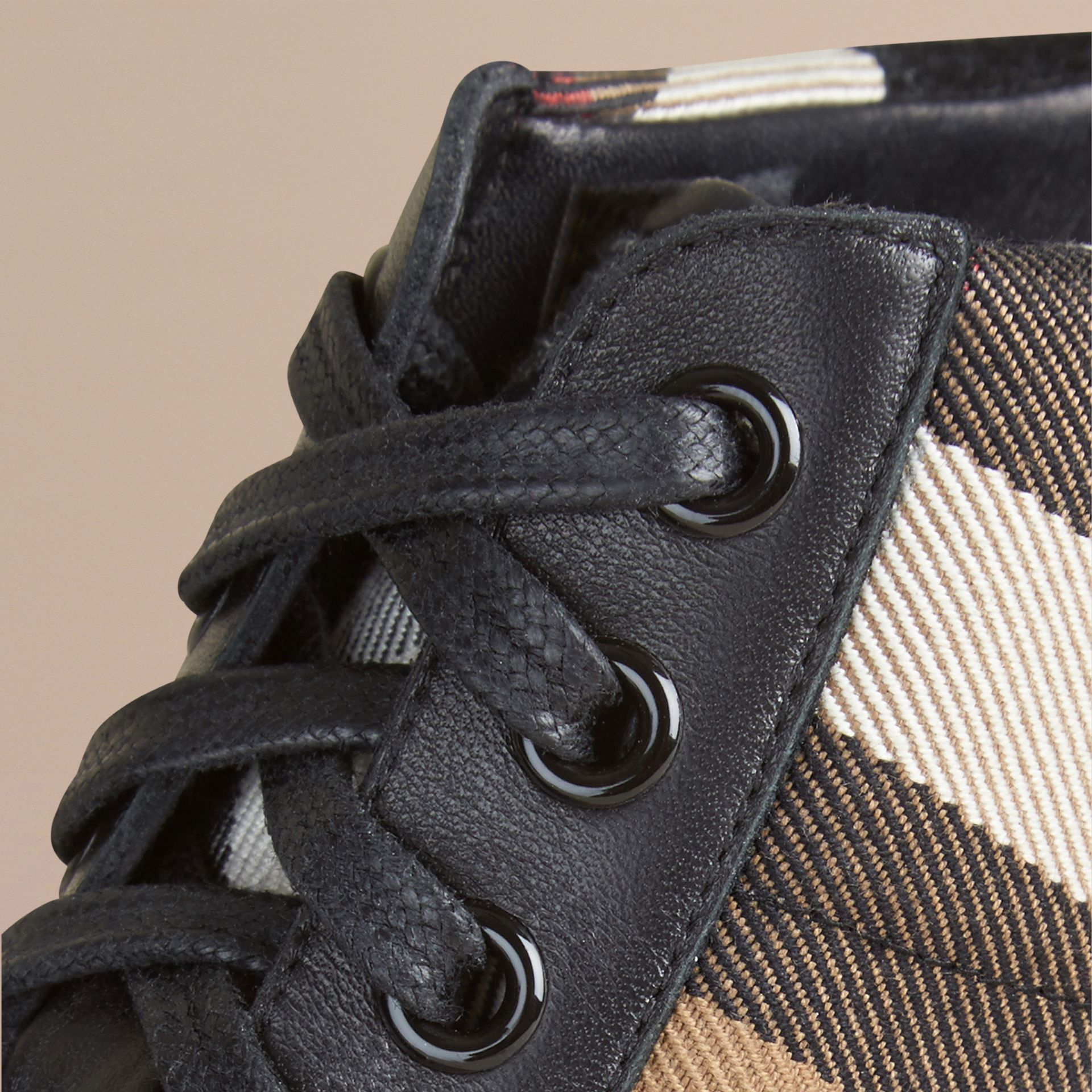 Black House Check and Leather High-top Trainers - gallery image 2