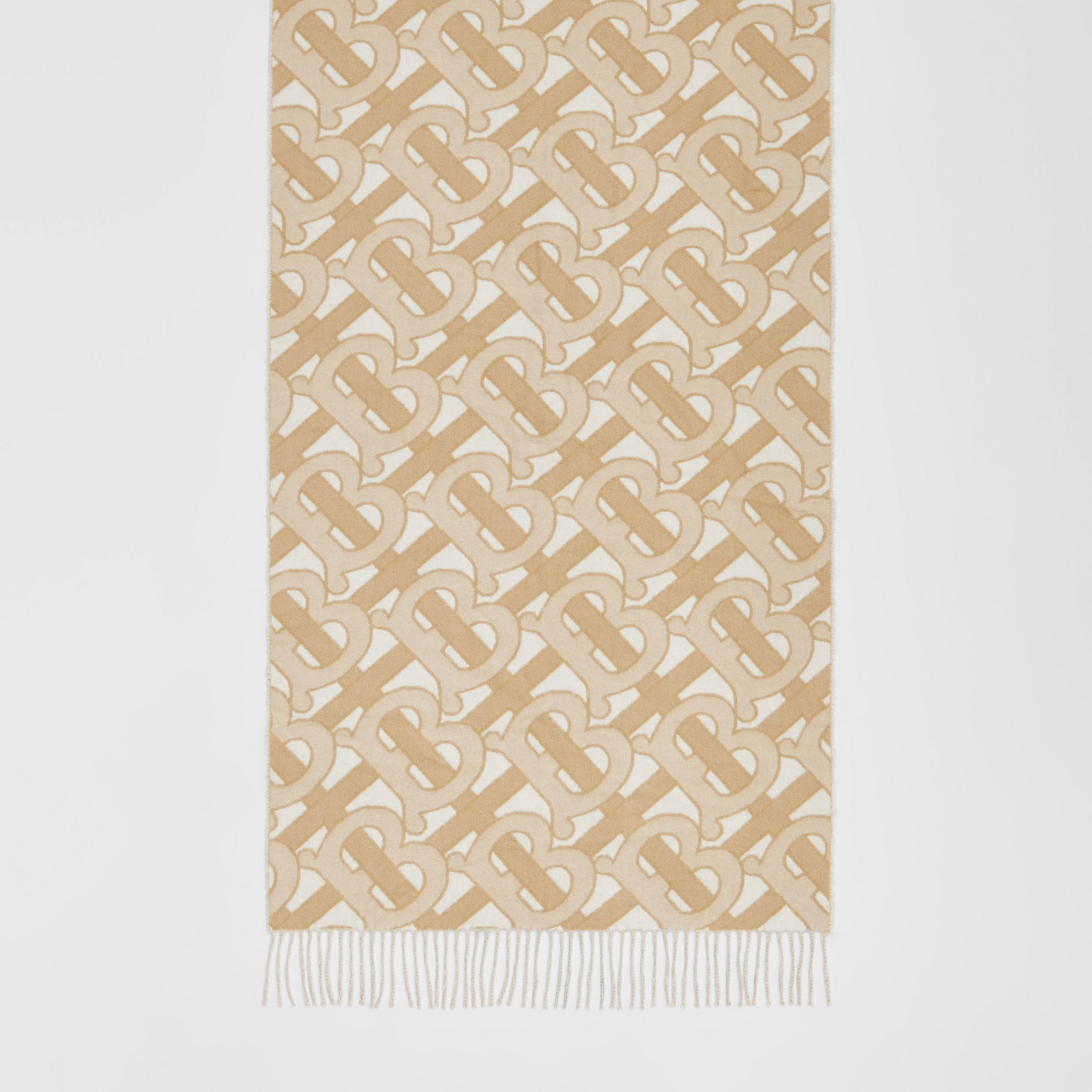 Monogram Cashmere Jacquard Scarf in Light Sand | Burberry Australia - 4
