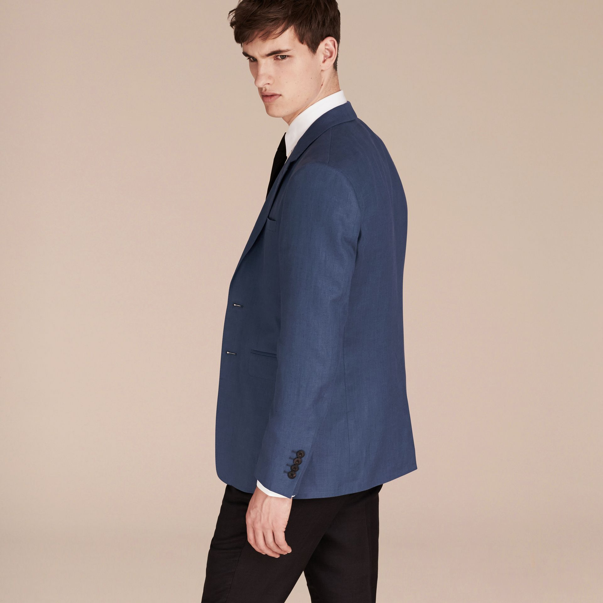 Bright steel blue Modern Fit Linen Tailored Jacket - gallery image 6
