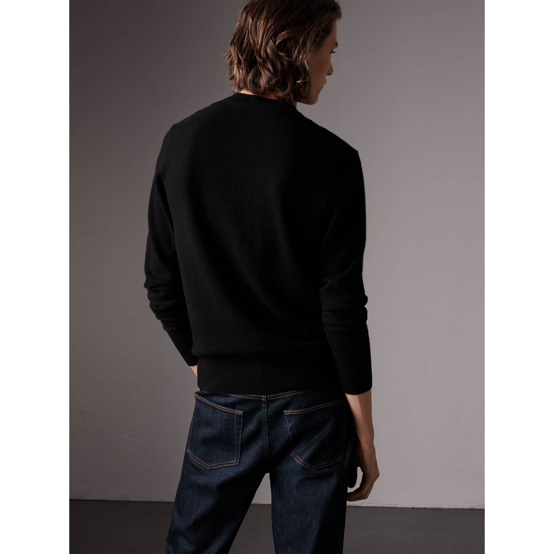 Cashmere V-neck Sweater in Black - Men | Burberry - gallery image 3