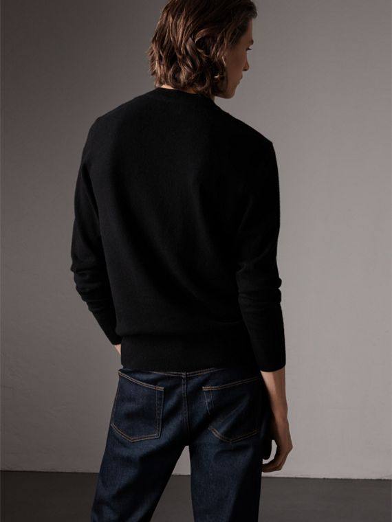 Cashmere V-neck Sweater in Black - Men | Burberry United Kingdom - cell image 2