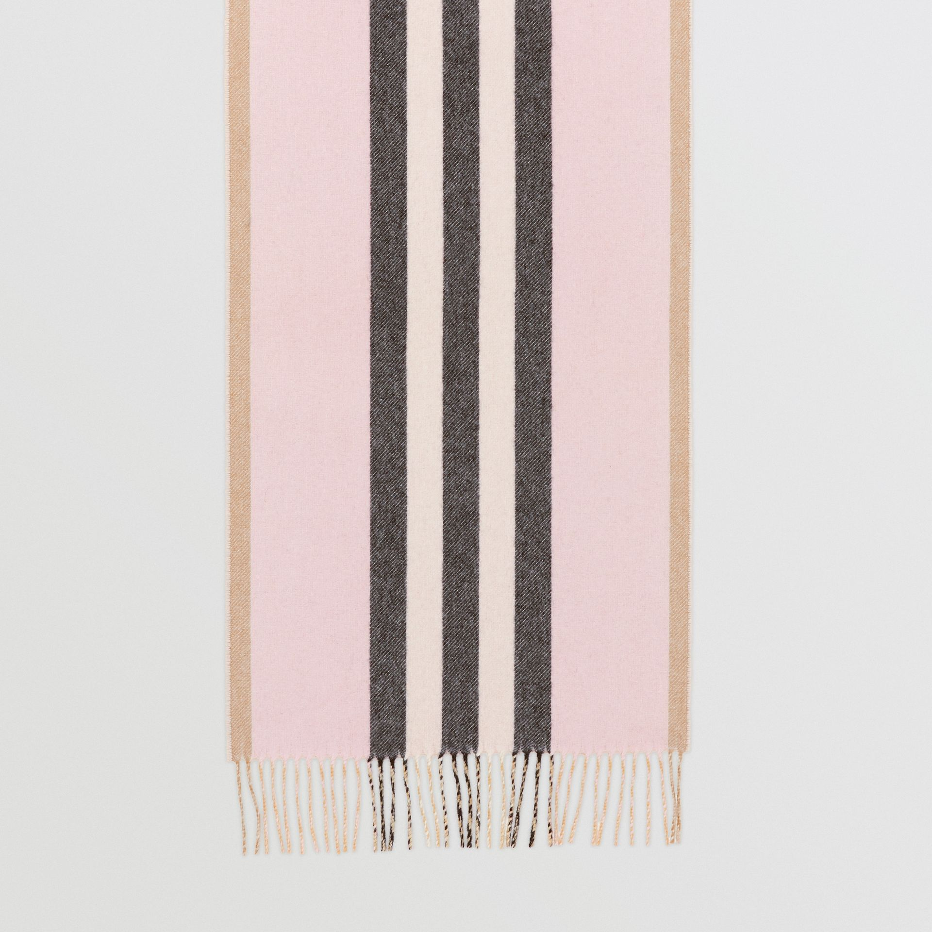 Reversible Icon Stripe Cashmere Scarf in Alabaster | Burberry United Kingdom - gallery image 4