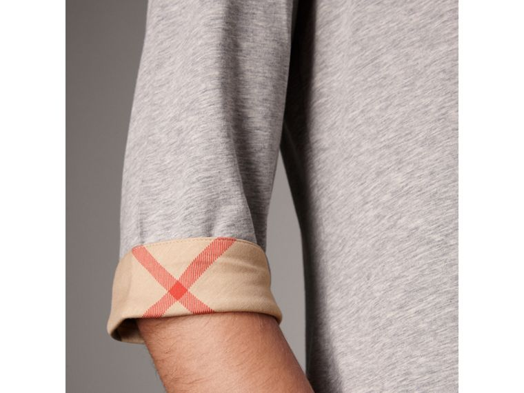 Check Cuff Stretch-Cotton Top in Pale Grey Melange - Women | Burberry Australia - cell image 1