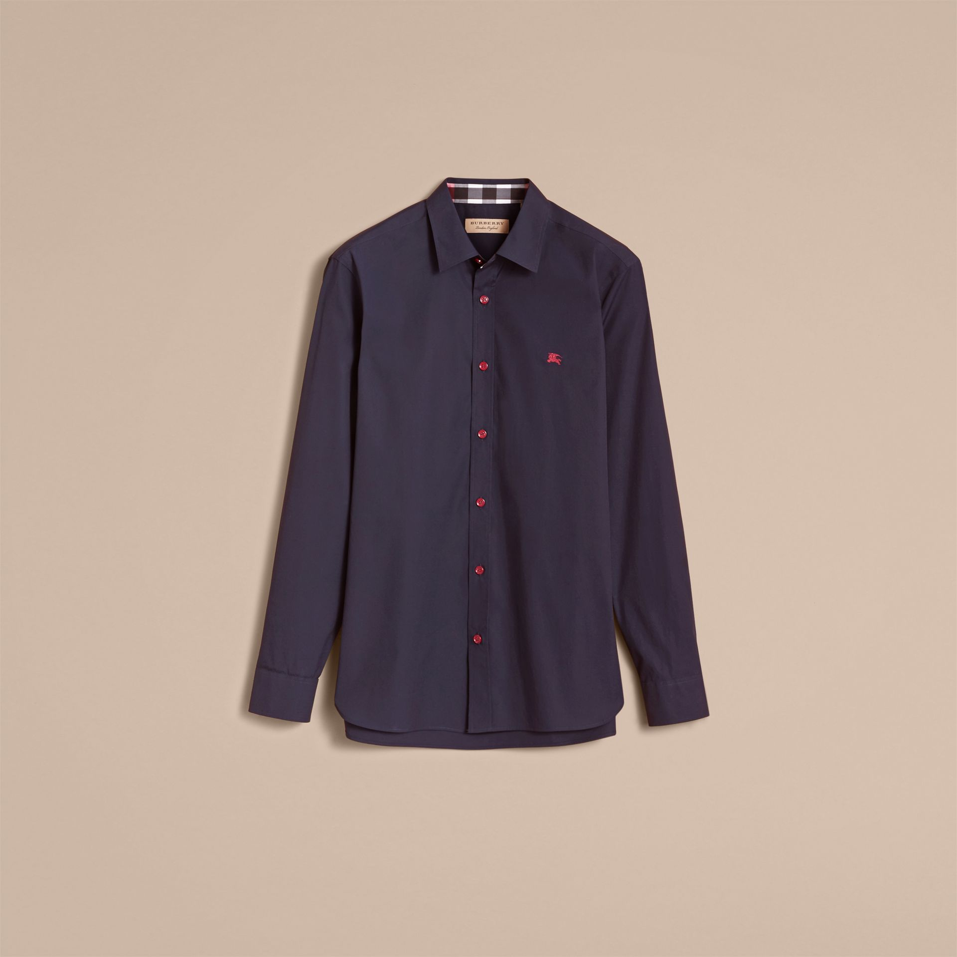Resin Button Cotton Poplin Shirt in Navy - Men | Burberry - gallery image 3