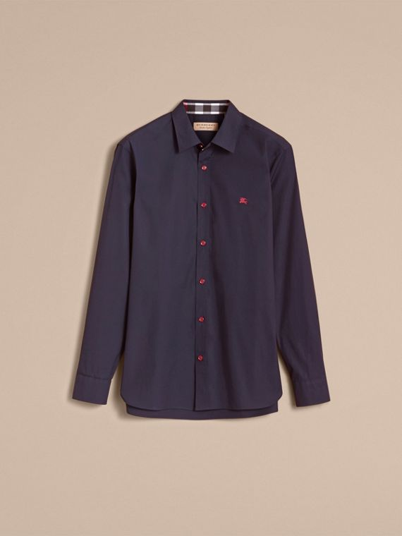 Resin Button Cotton Poplin Shirt in Navy - Men | Burberry United Kingdom - cell image 3