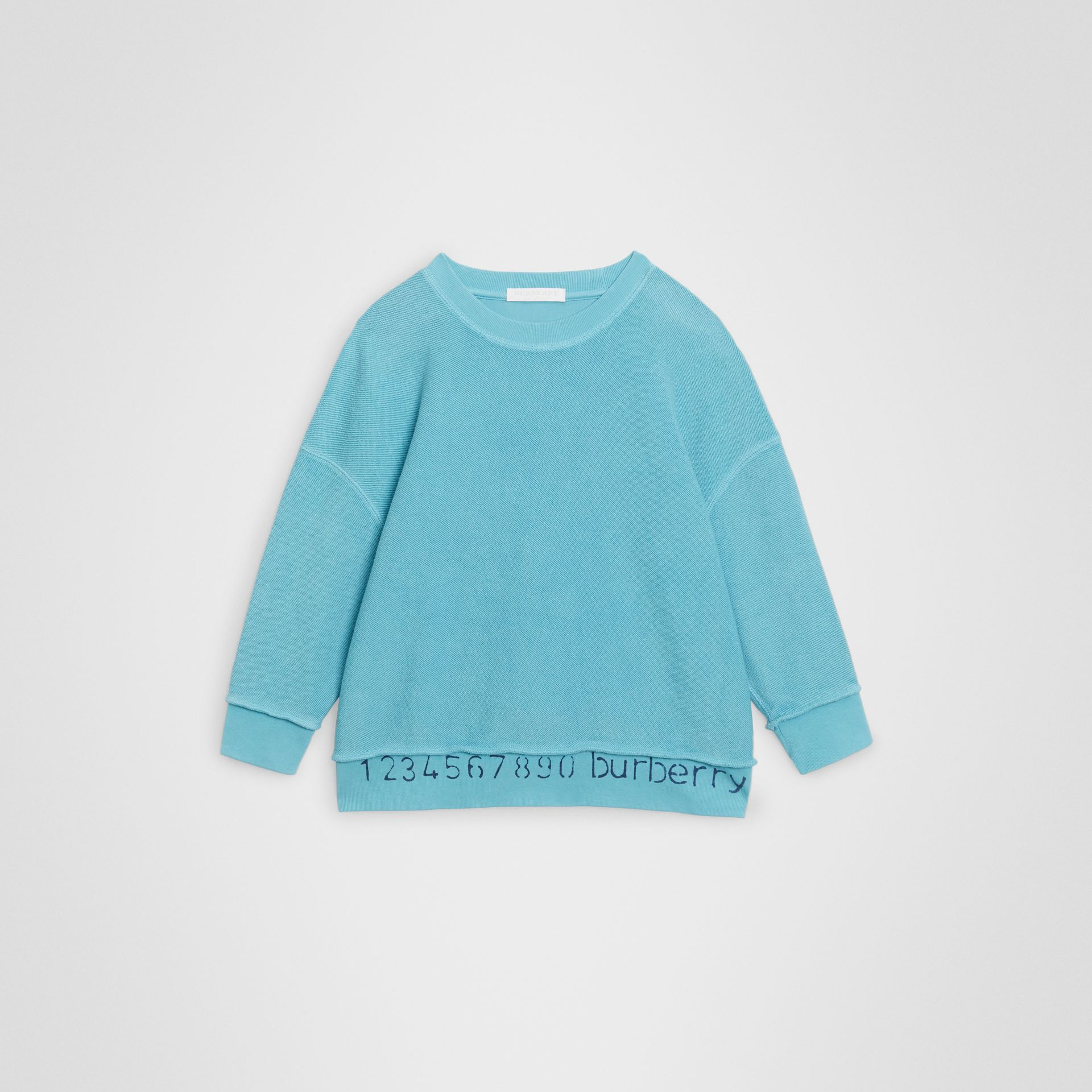 Number Print Cotton Sweatshirt in Bright Cyan Blue | Burberry United States - gallery image 0