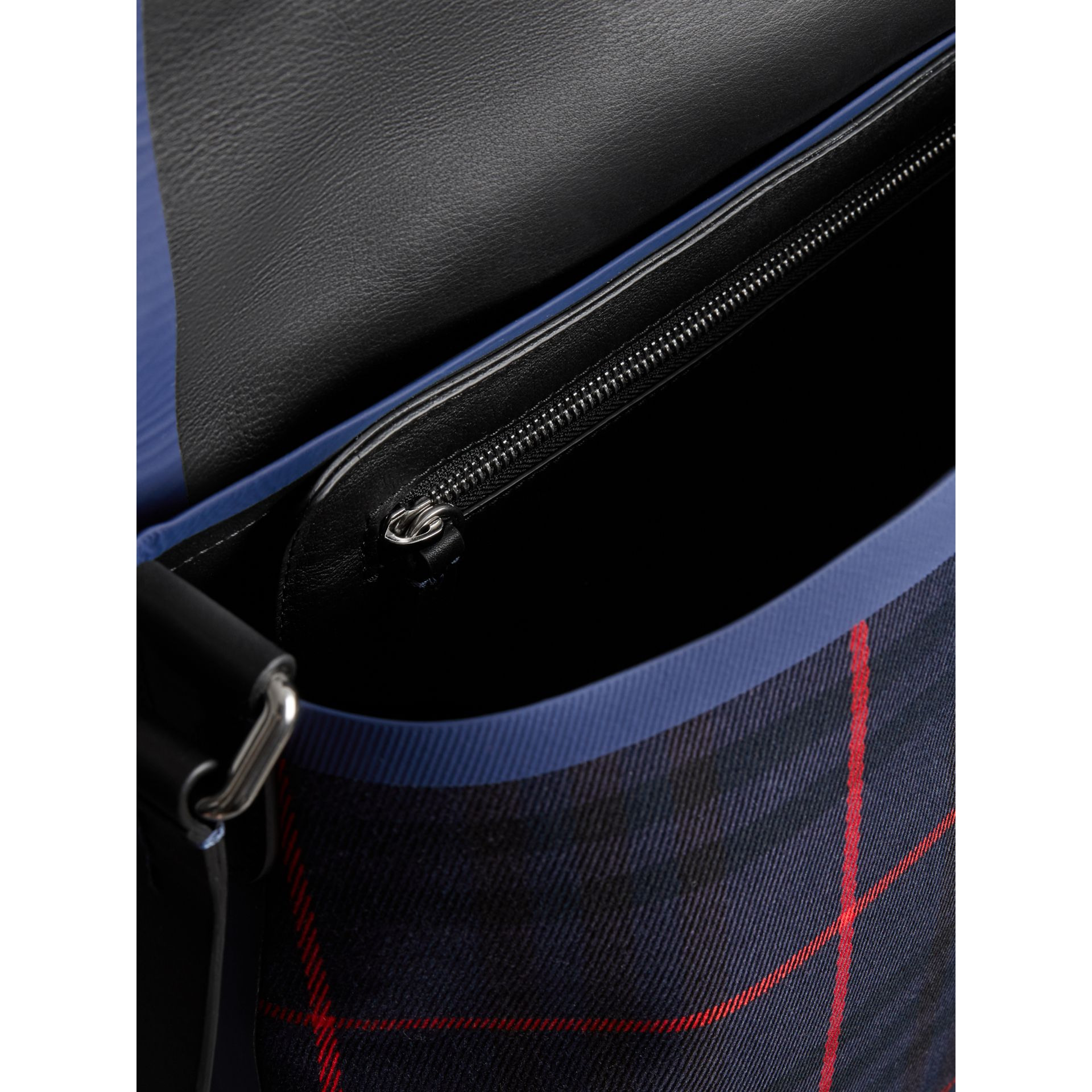 Large Tartan Cotton Messenger Bag in Deep Navy | Burberry - gallery image 5