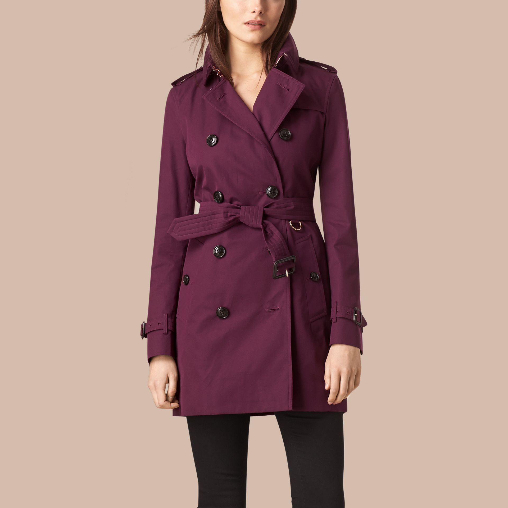 Bright burgundy Lightweight Cotton Gabardine Trench Coat - gallery image 1