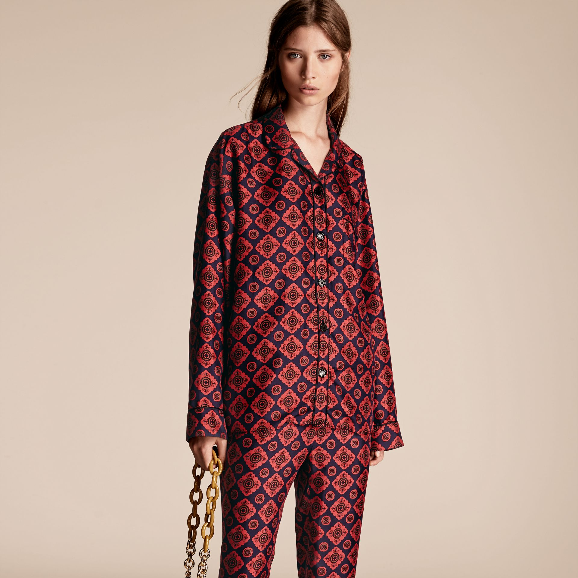 Geometric Tile Print Silk Pyjama-style Shirt - gallery image 1