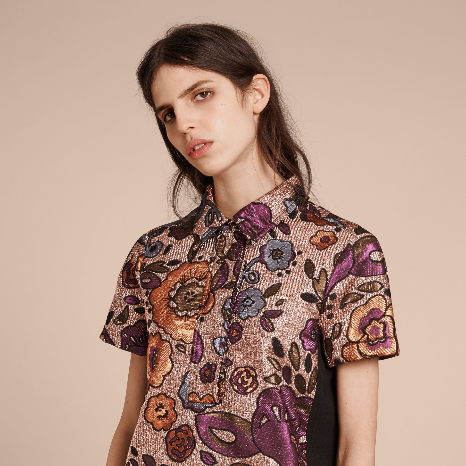 Copper rose Lamé and Floral Jacquard Shirt Dress - gallery image 6