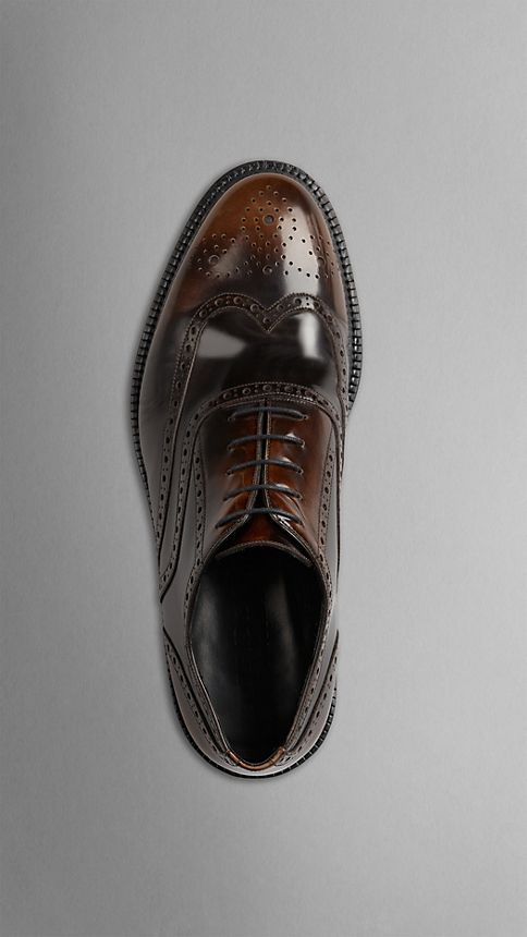 Bitter chocolate Leather Wingtip Brogues With Rubber Sole - Image 3