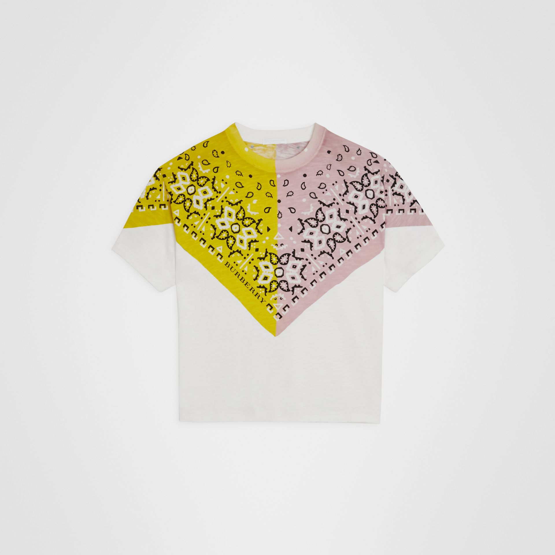 Bandana Print Cotton T-shirt in White | Burberry - gallery image 0