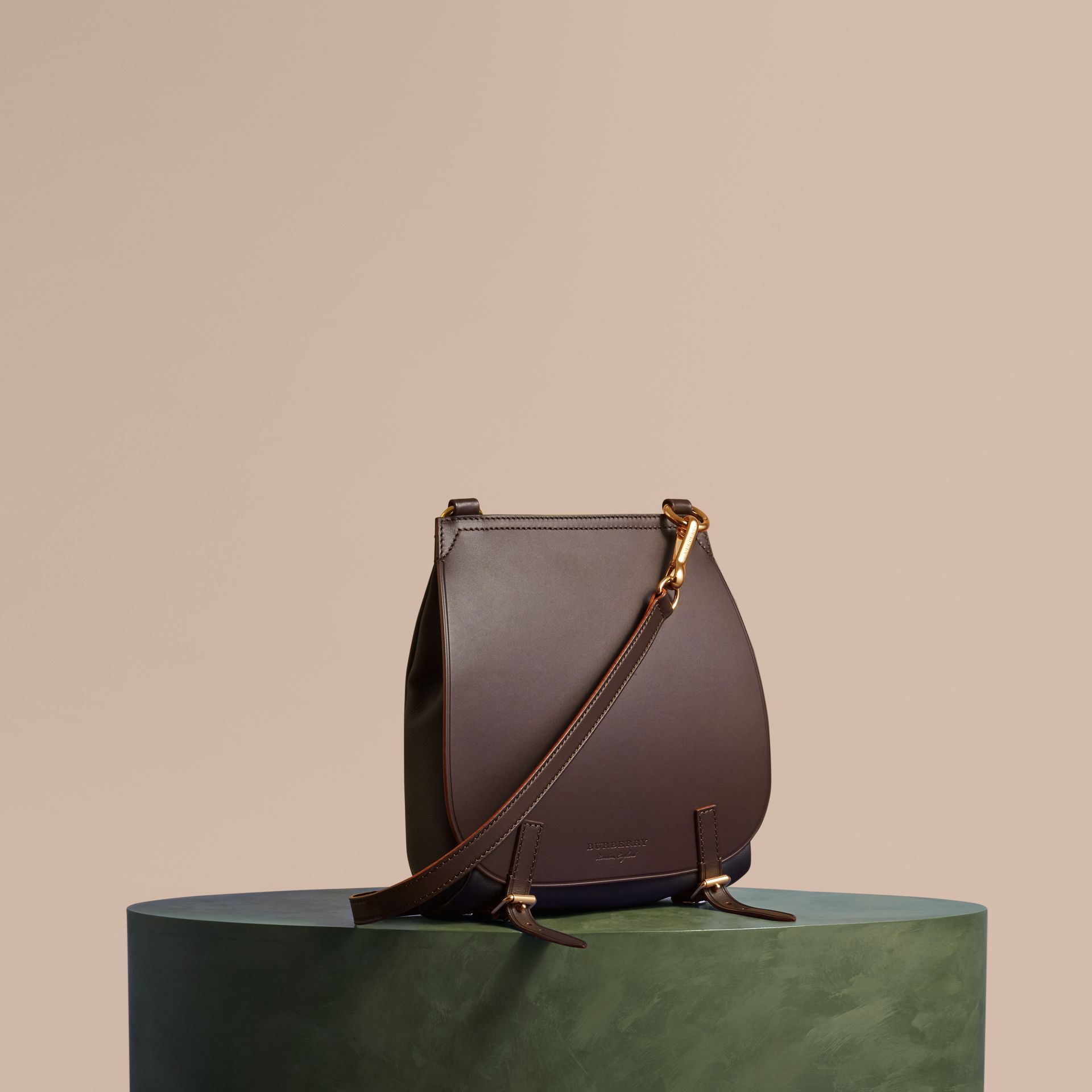 The Small Bridle Bag in Leather in Wine - Men | Burberry Australia - gallery image 1