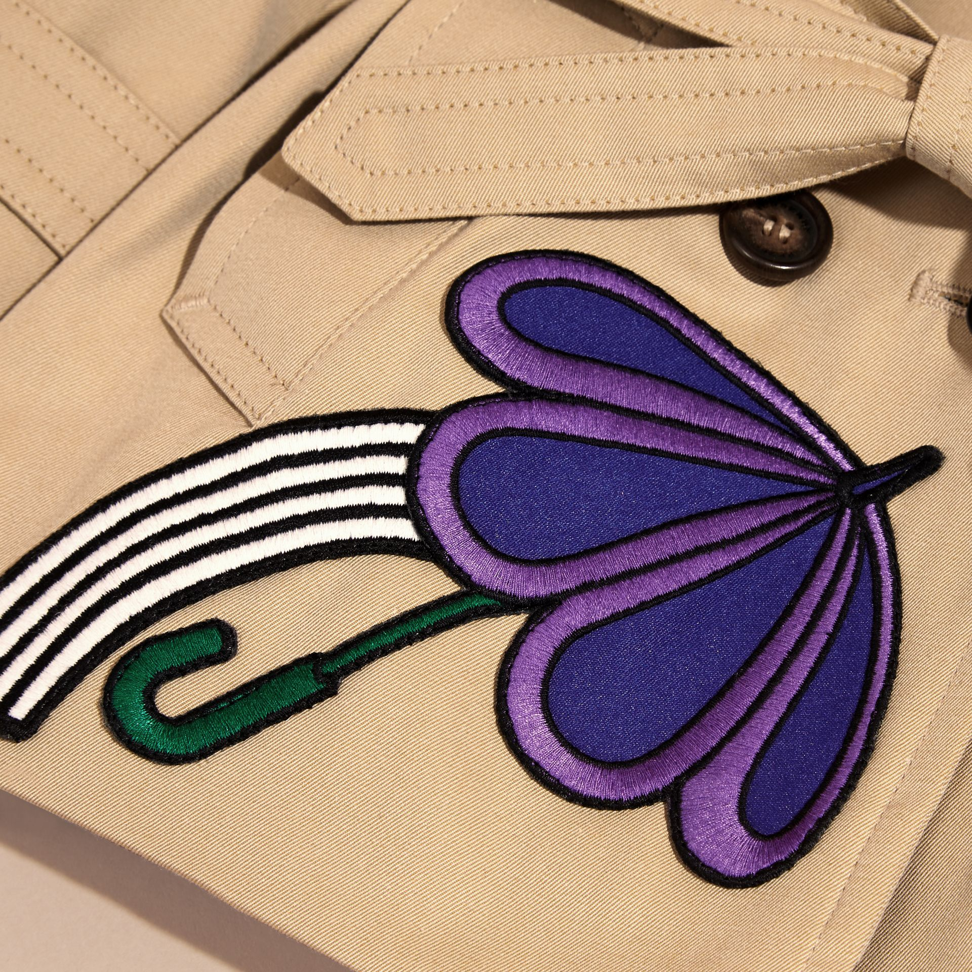 Cotton Trench Coat with Embroidered Weather Appliqués - gallery image 2