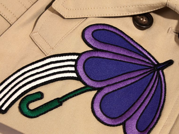 Cotton Trench Coat with Embroidered Weather Appliqués - cell image 1