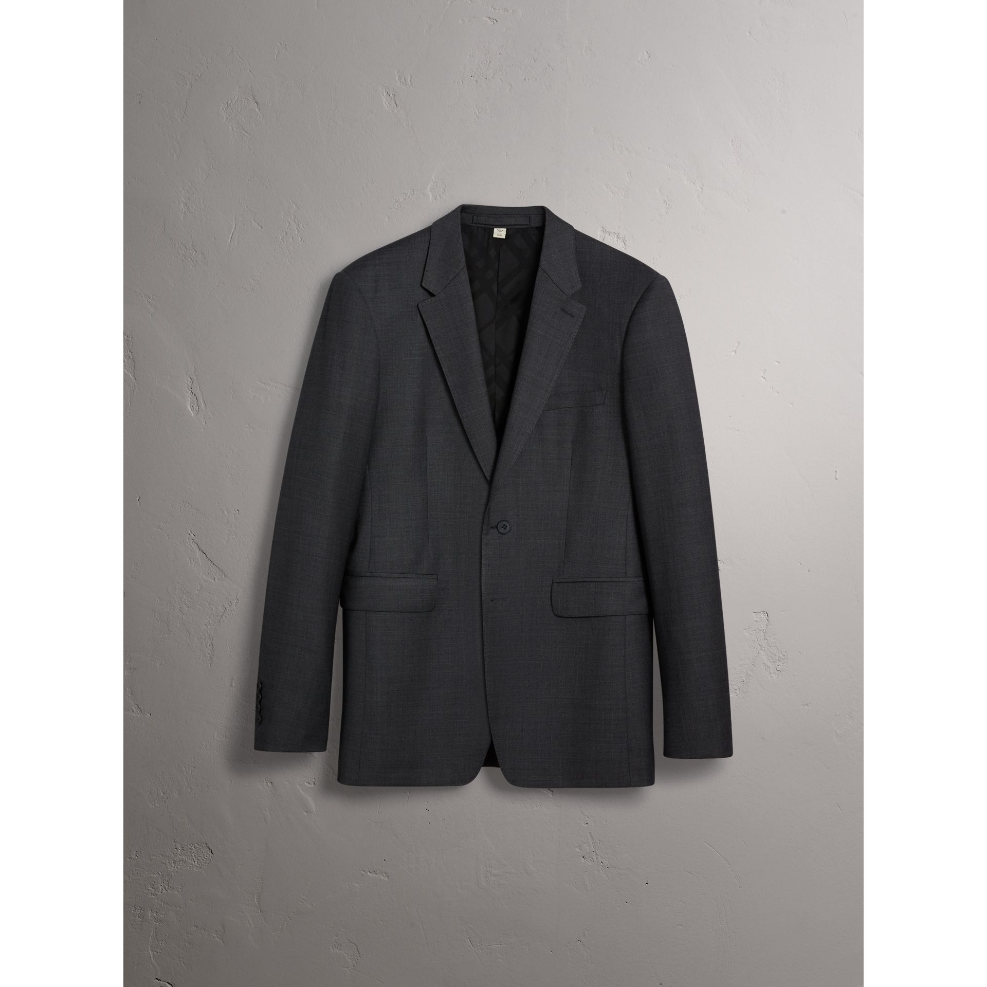 Modern Fit Travel Tailoring Virgin Wool Suit in Dark Grey Melange - Men | Burberry - gallery image 3