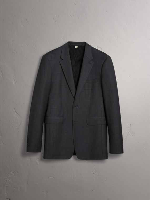 Modern Fit Travel Tailoring Virgin Wool Suit in Dark Grey Melange - Men | Burberry Canada - cell image 3