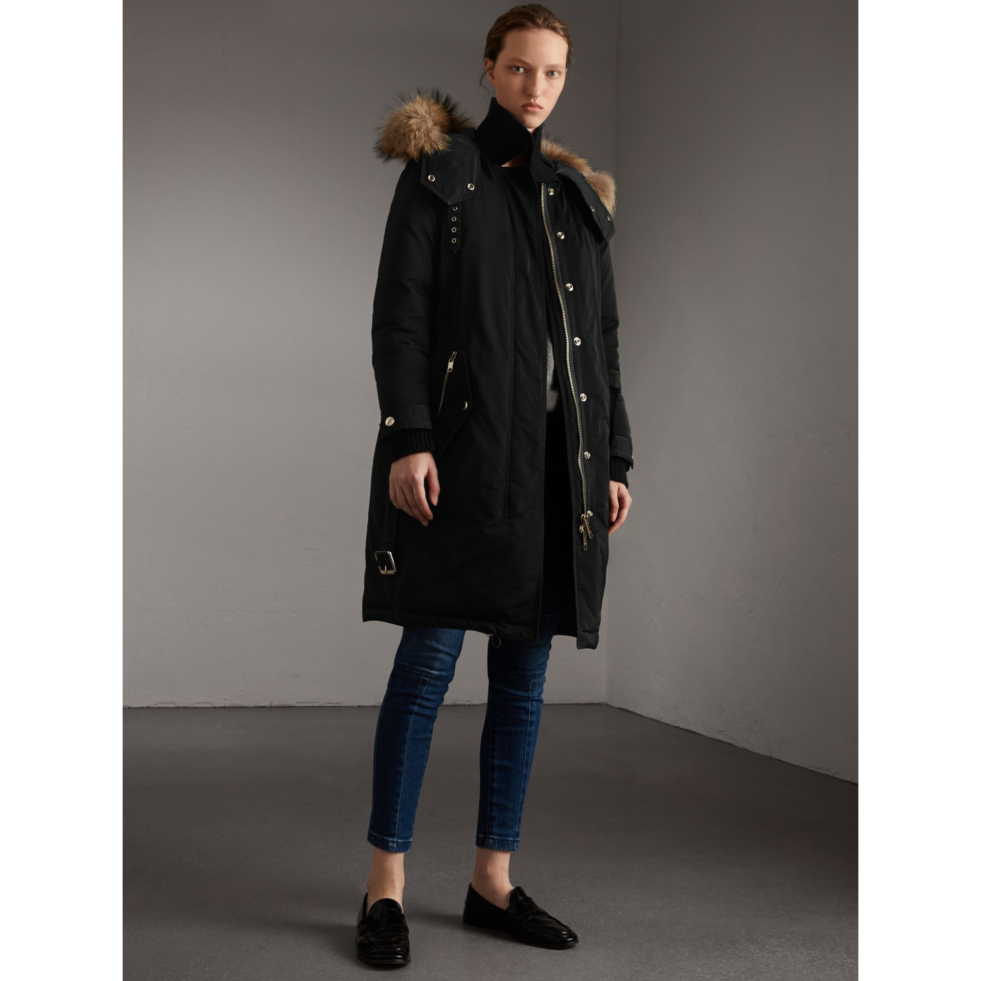 Down-filled Parka Coat with Detachable Fur Trim in Black - Women | Burberry United States - gallery image 6