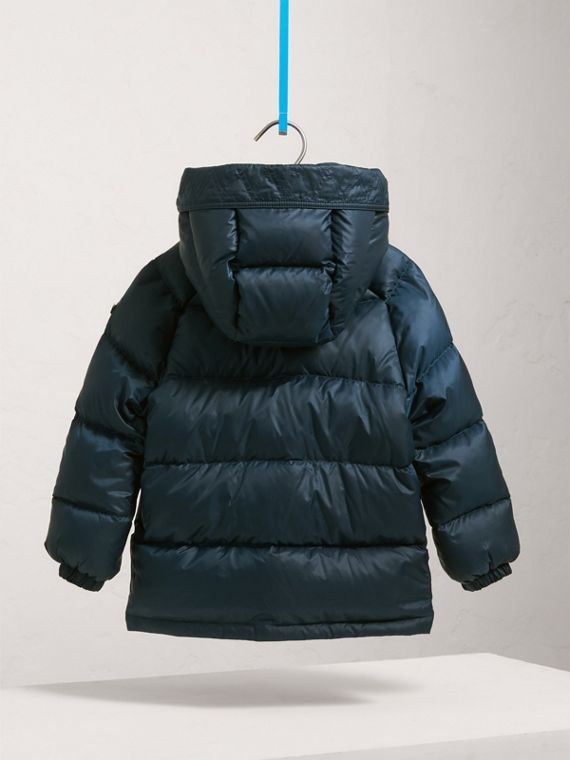 Shower-resistant Hooded Puffer Jacket in Ink Blue - Boy | Burberry - cell image 3