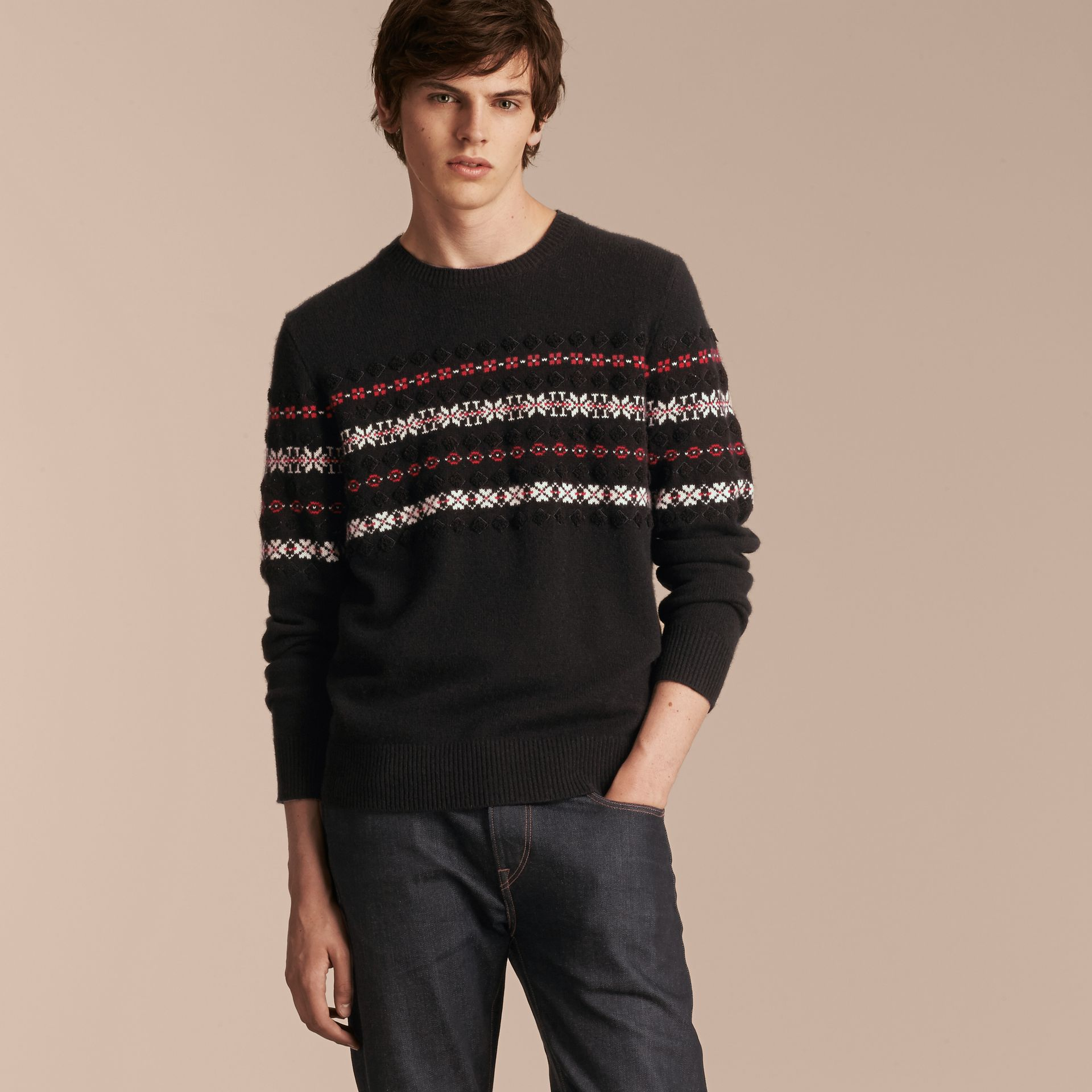 Black Fair Isle Knit Cashmere Wool Sweater - gallery image 6