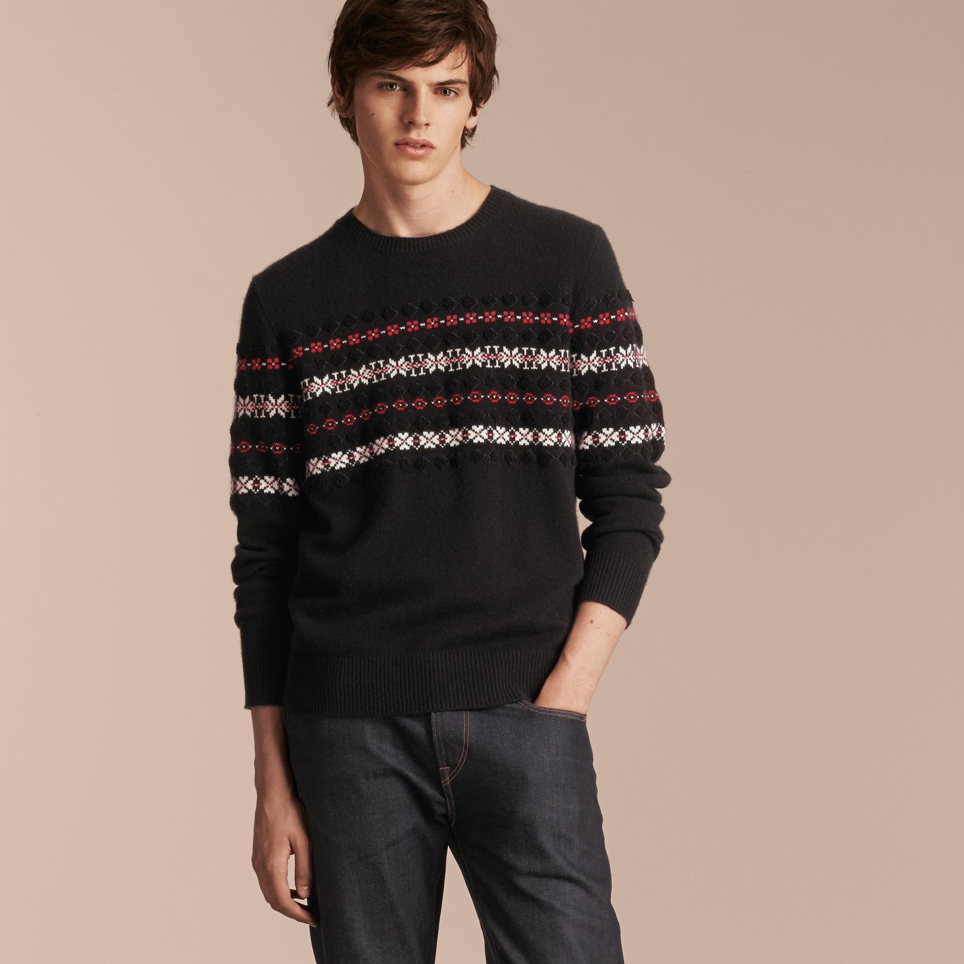 Preto Suéter de lã e cashmere com estampa Fair Isle - galeria de imagens 6